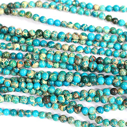 Natural Genuine Blue Sea Sediment Jasper Round Gemstone Jewelry Making Loose Beads (4mm)