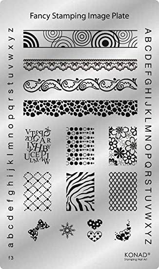 konad stamping fancy stencil plate 3 f3 nail art letter paper tribal