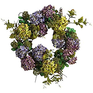 Nearly Natural 24-Inch Mixed Hydrangea Wreath 71