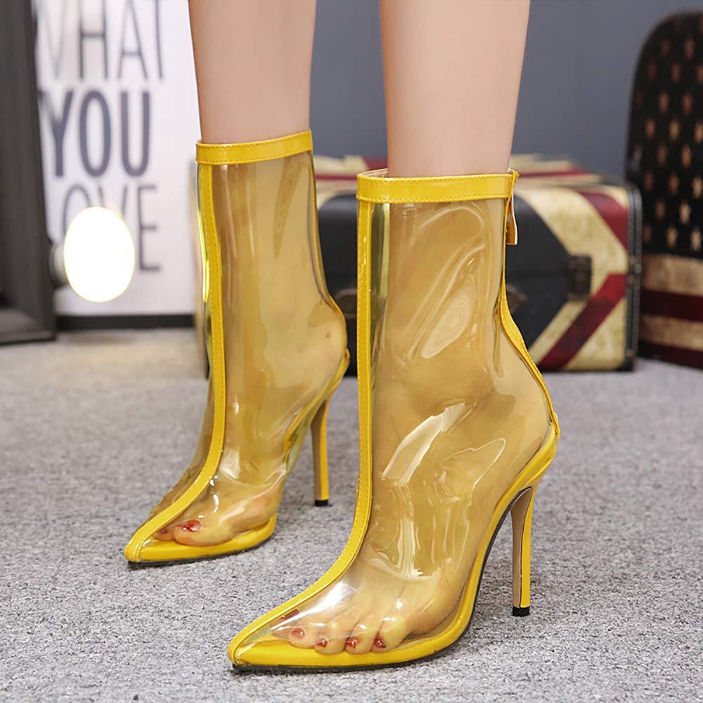 SMILINGGIRL Frauen Transparent Spitzen Rücken Reißverschluss Stiefel Sandalen High Heel Einzigen Schuhe Weibliche Farbe Transparente Sandalen Stiefel (Gelb),Yellow,7 - 5d1b20