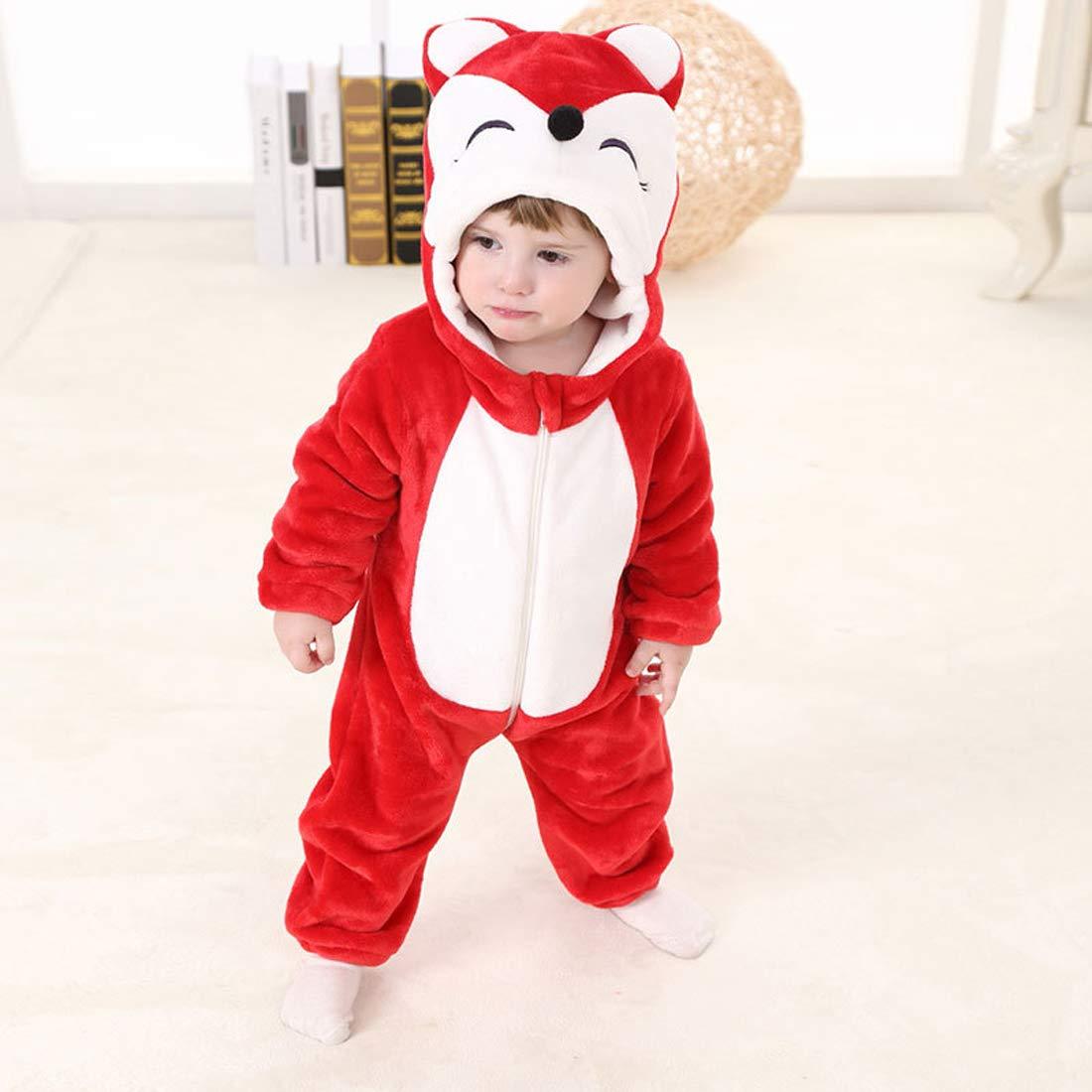 PAUBOLI Fox Costume Infant Red Fox Romper Flannel Onesie Hooded Fox Halloween Costume