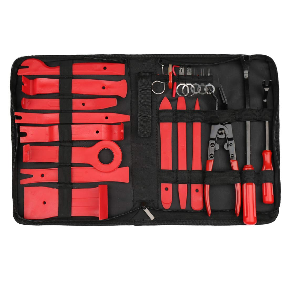 uxcell Car Trim Removal Tool Set Nylon Red Panel Dash Audio Radio Tire Valve Repair Kits 22 in 1 by uxcell (Image #7)