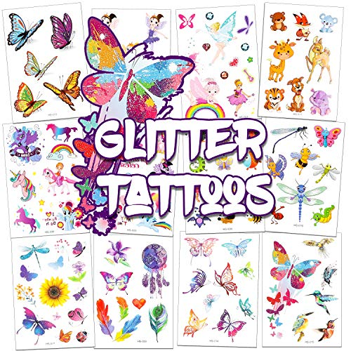 TICIAGA 16 Sheets Glitter Tattoos for Kids, Assorted Temporary Tattoos, 135 Dazzling Designs of Fake Waterproof Tattoos for Boys Girls, Butterfly, Unicorn, Animals Tattoos for Birthday Party Favors