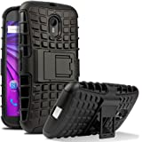 Chevron Dual Armor Kick Stand Back Cover Case for Moto G 3rd Generation/Moto G Turbo ,Black