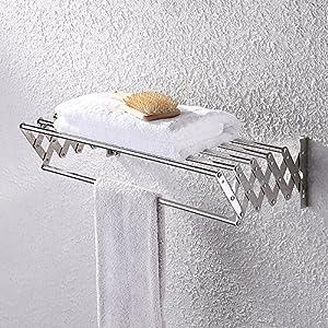 Good KES Bathroom Towel Bar   Retractable Towel Rack Storage Organizer Hanger  Wall Mount, Polished SUS 304 Stainless Steel, BTR204