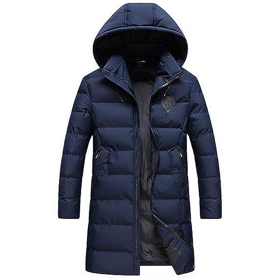 Fanessy Jacke Mann Mantel Schwarz Blau Winter Kalten Kapuze Fell Gefüttert  Parka Warme Jacke Dicke Lange Mantel  Amazon.de  Bekleidung c642e10c2a
