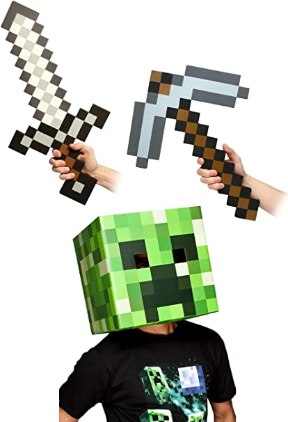 JINX Minecraft - Kit de disfraz de espada y piqueta (30,5 cm ...