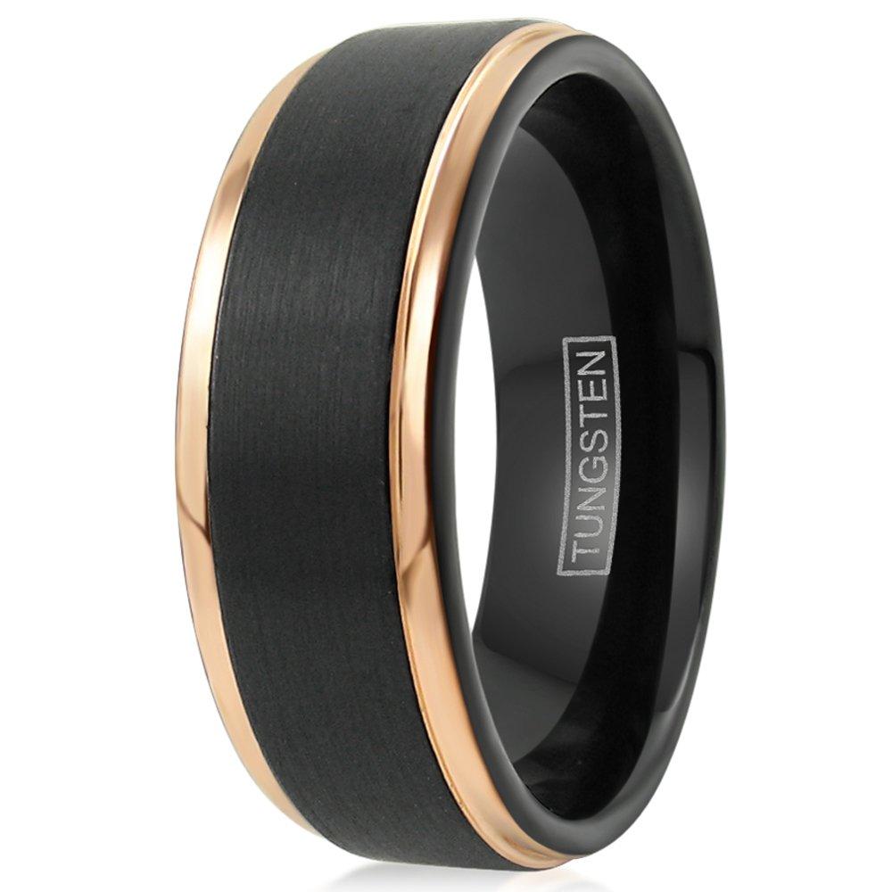 King's Cross Personalized Engraved Beautiful Black 6mm/8mm Tungsten Wedding Band w/Exquisite Rose Gold Stepped Edges. (tungsten (8mm), 8.5)