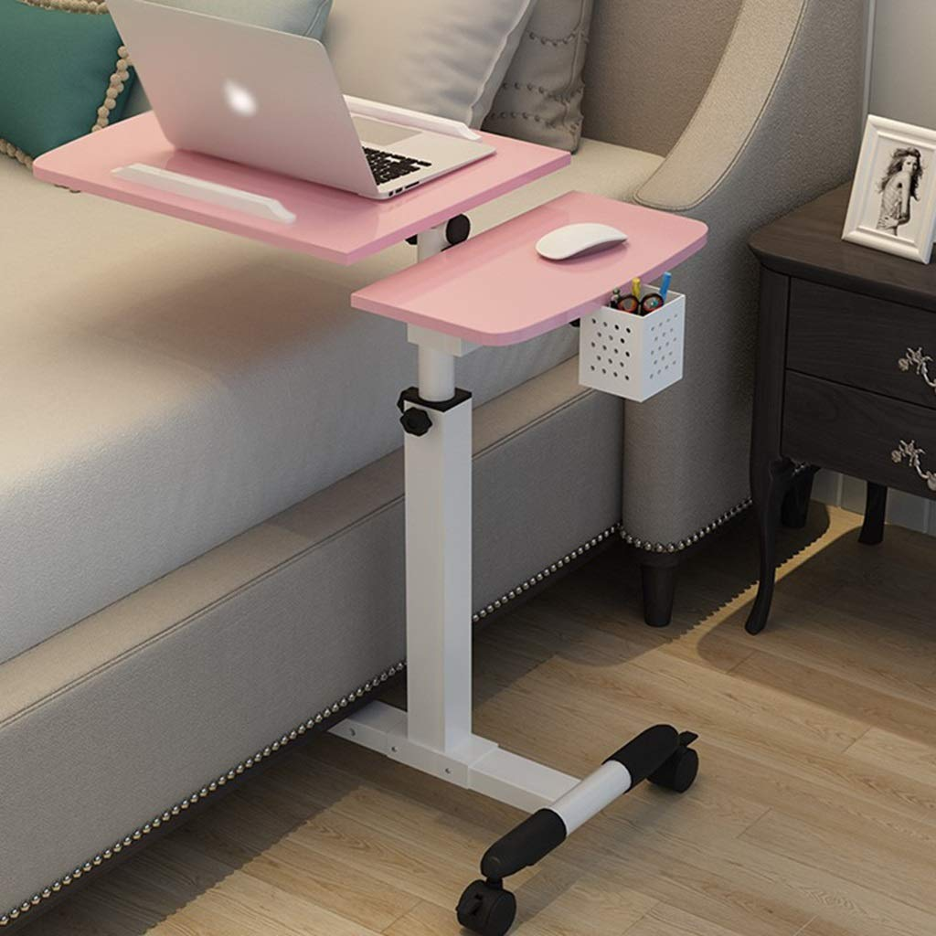 ZDNALS Bedside Table,Foldable Computer Table Adjustable Portable Laptop Desk Rotate Laptop Bed Table Can Be Lifted Standing Desk 65×40CM Bedside Table (Color : Pink)