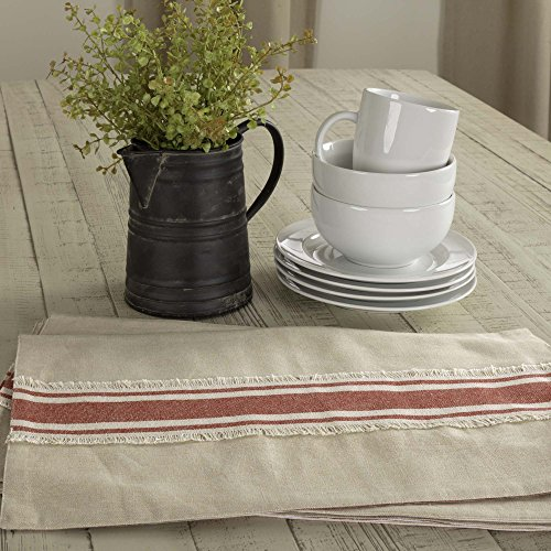 Piper Classics Farmhouse Red Grain Sack Stripe Placemats, Set of 4, 12″ x 18″, Country Farmhouse Kitchen and Dining Room Table Linens