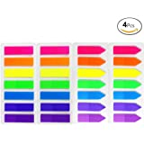 JUSLIN 4 Sets of 560pcs Neon Color Page Marker Fluorescent Color Index Label, Transparent Tabs Flags Stickers