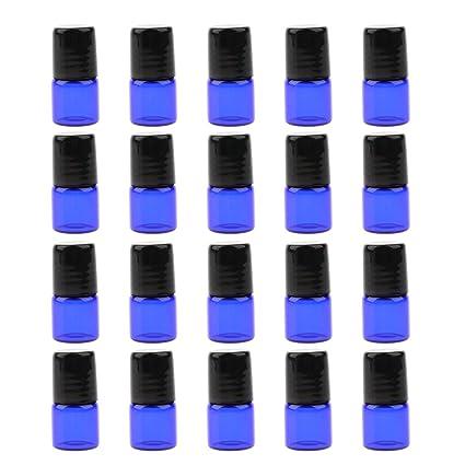 Homyl 20 unds Botellas de vidrio Rellenables Bola de Rodillo para Guardar Aceite Maquillaje Salón de