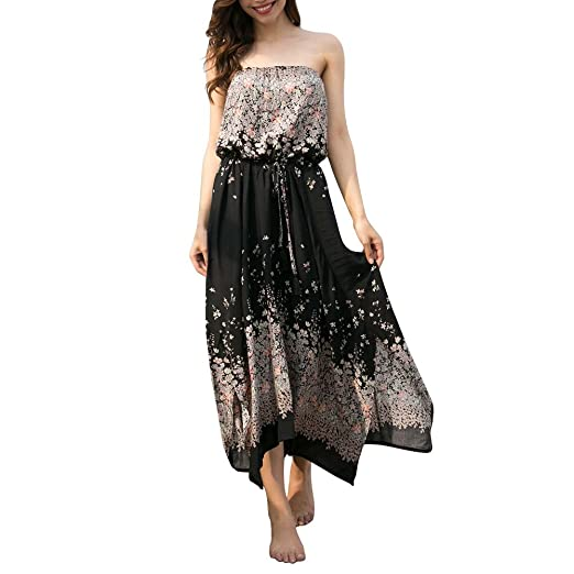 606d738aab Women s Long Summer Sexy Boob Tube Top Strapless Side Split Floral Print  Beach Cotton Maxi Dress