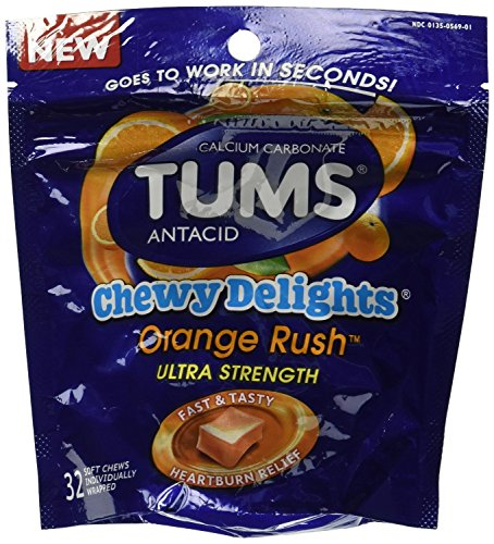 TUMS Chewy Delights Orange Rush Ultra Strength Antacid Soft Chews for Heartburn Relief, 32 count