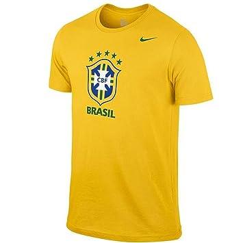 Nike Hombres Brasil CBF Core – Escudo de Equipo Nacional de Fútbol Camisa Camiseta de Color