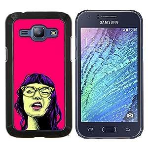 Caucho caso de Shell duro de la cubierta de accesorios de protecci¨®n BY RAYDREAMMM - Samsung Galaxy J1 J100 - Chica Retrato Pop Culture Glasses Pink Neon