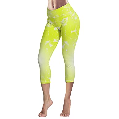 8ad069d1e4 Amazon.com: Sodika Women's Yoga Pants High Waist Sport Workout Running Leggings  Tights Yellow Triangle Geometry: Clothing