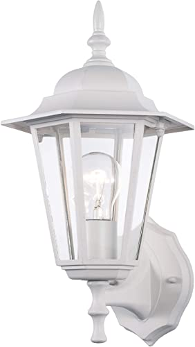 YaoKuem Outdoor Wall Lantern, Wall Sconce as Porch Lighting Fixture, E26 Medium Base 100W Max, Aluminum Housing Plus Glass, Wet Location Rated, Bulbs not Included White