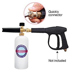 MATCC Adjustable Foam Cannon 33 fl. oz (1Liter) Bottle Snow Foam Lance with 1/4'' Quick Connector, 5 Pressure Washer Nozzles for Cleaning