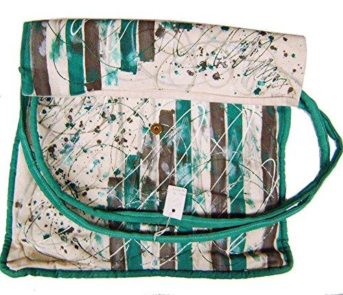 """Modestone Marriott Women's Glitter Hand Painted Canvas Bag 19"""" x 13 1/2"""" Green"""