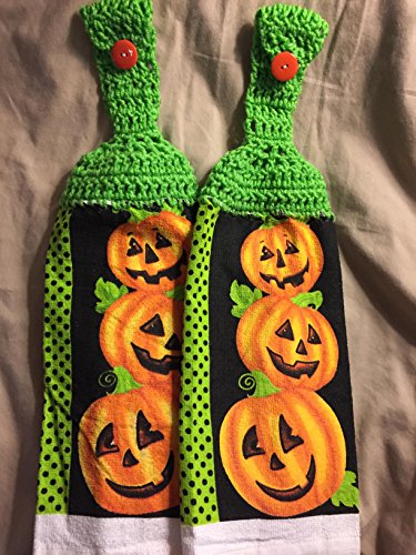Free shipping to USA included in price - 2 CROCHET KITCHEN hand TOWEL LIGHT weight terry cloth - Halloween Pumpkins Jack o Lantern Dots - BRIGHT LIME GREEN acrylic yarn (Half Price Halloween)