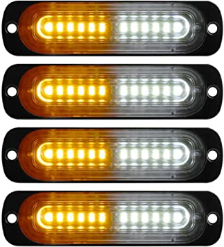 DIBMS 4x Ultra Slim White 10 LED Side Strobe Warning Hazard Flashing Emergency Caution Construction Light Bar for Car Off road vehicle ATVs truck engineering vehicles