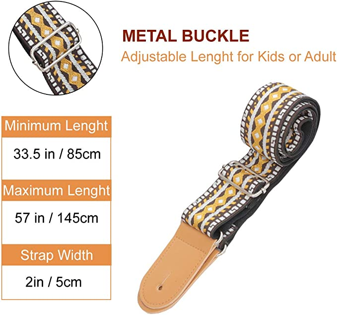 Brown Dtown Ukulele Bass Guitar Strap Classical 2 Inches Wide Fit for Kids or Adults