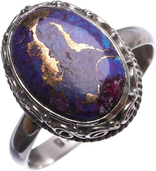 Natural Copper Turquoise Handmade Boho 925 Sterling Silver Ring US Size 8.5 T7432