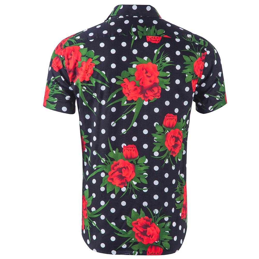 Hawaiian Shirts for Men 100/% Cotton Button Down Casual Short Sleeve Shirt Aloha Shirt,Rose Print