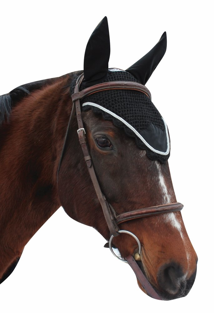 Equine Couture Fly Bonnet with Silver Rope - Pony Color - Black, Size - Full