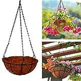 Giveme5 Iron Coconut Palm Hanging Basket with Chain Flowerpot Plants Flower Holder Organizer for Home Garden Wedding Decoration 8-16 inch (16 inch)
