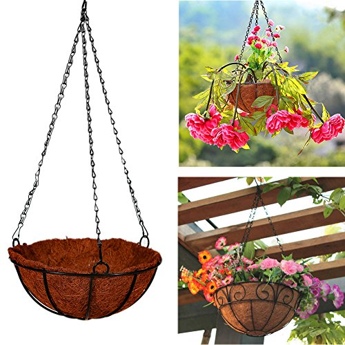 Giveme5 Iron Coconut Palm Hanging Basket with Chain Flowerpot Plants Flower Holder Organizer for Home Garden Wedding Decoration 8-16 inch (16 inch) by Giveme5