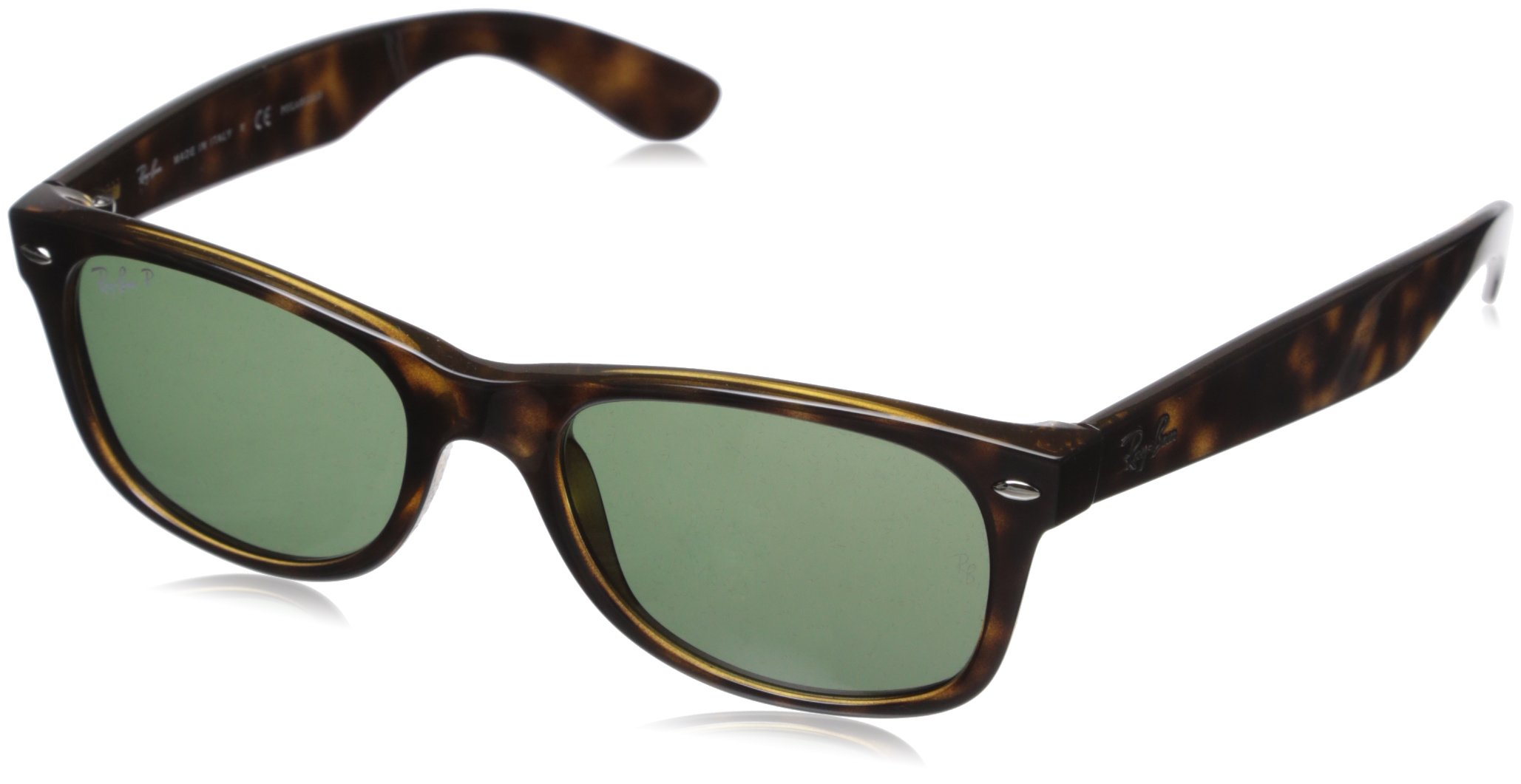 Ray-Ban rb2132 Unisex New Wayfarer Polarized Sunglasses, Tortoise/Crystal Green, 55mm