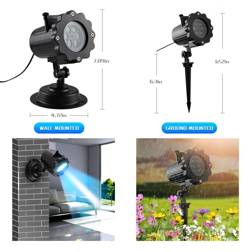 LED Projector Lights, KOLIER Landscape Spotlight with Interchangeable 16 Slides Waterproof Holiday Projector Light with Remote Control for Party / Birthday by KOLIER (Image #4)