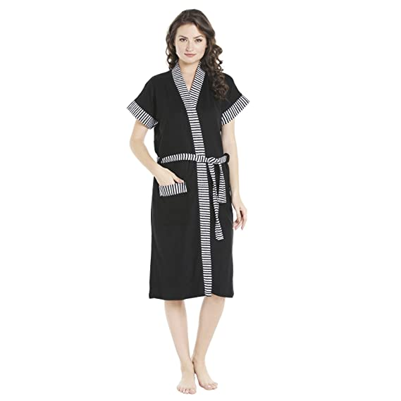 Sand Dune - Black Color Womens 100% Terry Cotton Bathrobe Gown - Half  Sleeve Knee Length with Pocket - Plain with Border Stripes Print Bath Robe  - Available ... d89a09f70