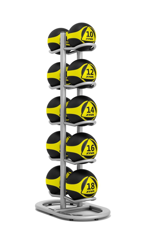 ZIVA ST 10 Multi-Ball Storage Tree for Wall, Slam, Medicine Balls – Holds 10 Balls - Platinum (Balls Sold Separately)