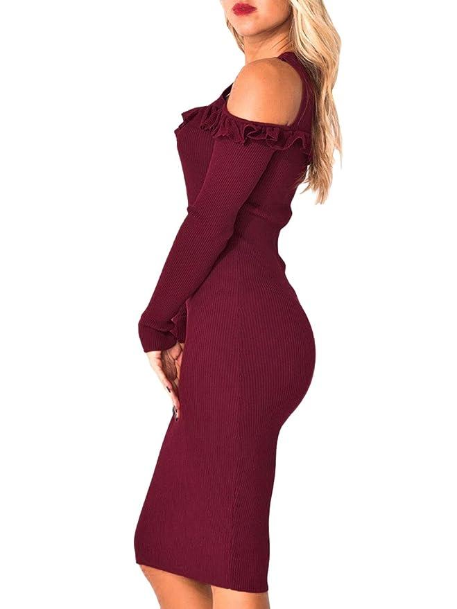 7b7ade3cbb4 BerryGo Women s Sexy Cold Shoulder Halter Bodycon Round Neck Sweater Midi  Dress at Amazon Women s Clothing store