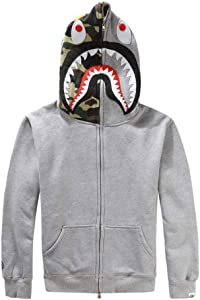ZYPPX Ape Bape Hoodies Pullover, Men/Women Shark 3D Printed Sweatshirts Casual Hip-Hop Unisex Coat