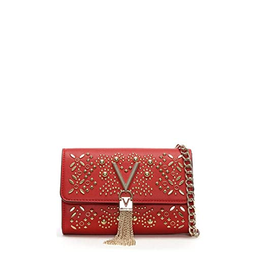 f2b832bd8d8be Mario Valentino Valentino By rosso di Marilyn stud impreziosito borsa a  tracolla Red leather  Amazon.it  Scarpe e borse