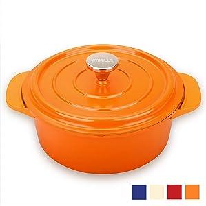 2 QT Cast Aluminum Dutch Oven/Pot with Non-stick Coating, Red/Orange/White/Blue Cookware(HP200-Orange, 2qt)