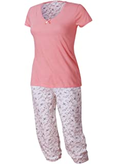 Damen Pyjama Schlafanzug Kurzarm blau weiß pink Gr S L M XL