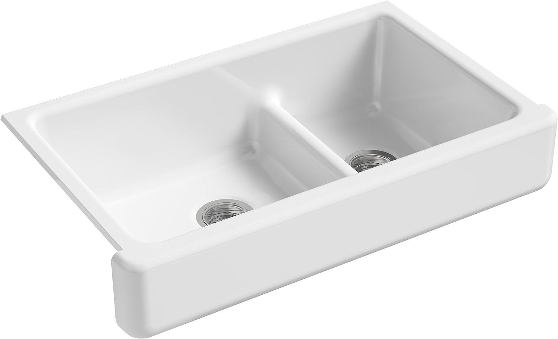KOHLER K-6426-0 Whitehaven Farmhouse Smart Divide Self-Trimming Undermount  Apron Front Double-Bowl Kitchen Sink with Short Apron, 35-1/2-Inch X ...