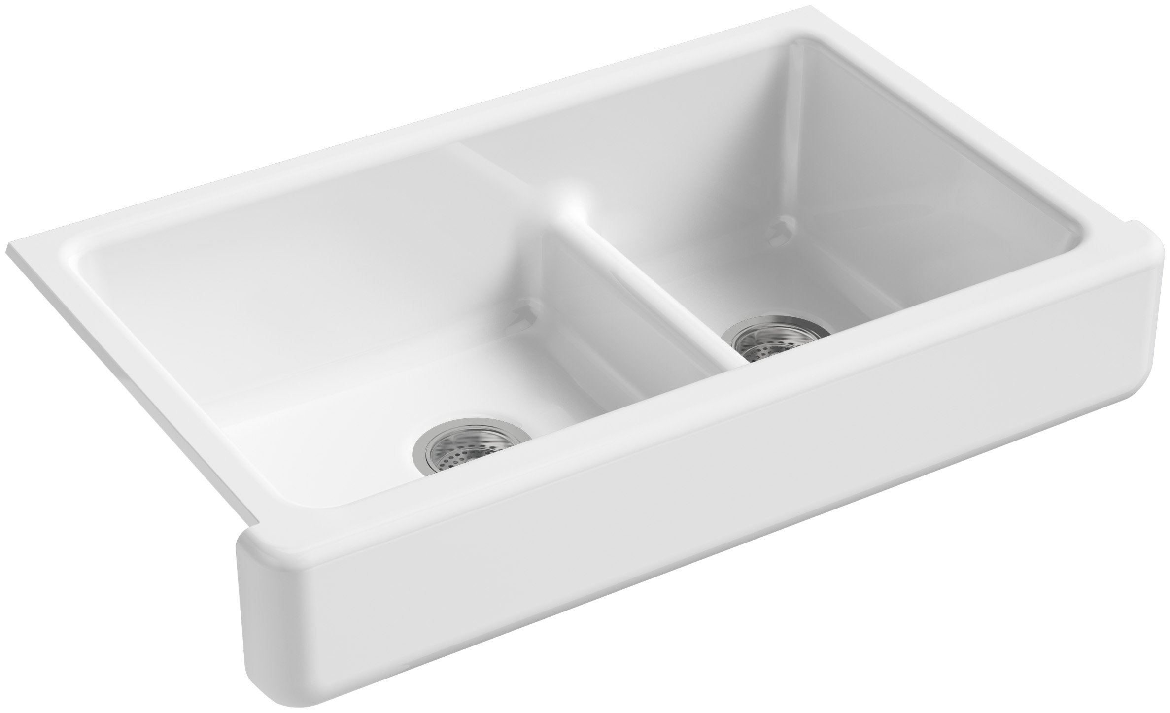 KOHLER K-6426-0 Whitehaven Smart Divide Self-Trimming Under-Mount Apron-Front Double-Bowl Kitchen Sink with Short Apron, 35-1/2-Inch X 21-9/16-Inch X 9-5/8-Inch, White
