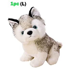 "Sealive 11"" Height Husky Dog Baby Kids Plush Toys,White and Gray,Large Size Stuffed Animal Plush Huskie Cute Husky Puppy Stuffed Animals For Kids Adults Boys Girls"