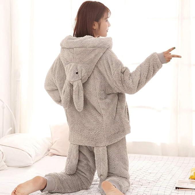 HONGNA Nuevo Pijama De Terciopelo De Coral para Mujer Invierno Doble Grueso Cálido Dulce Lindo De Dibujos Animados De Franela Hogar Llevar (Color : Gray, ...