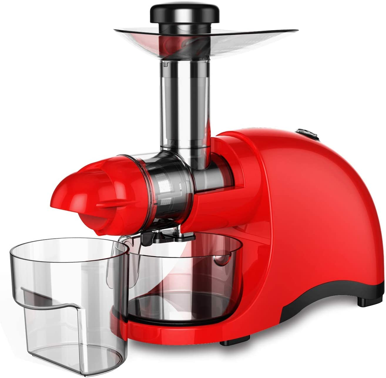 Greenis F-9600 Horizontal Masticating Juicer, Cold Press Professional Juicer Slow Speed Creates Continuous Fresh Healthy Fruit Vegetable & Leafy Greens Juice at 60 RPM High Juice Yield, 150-Watt, Tritan Material Ultra-Durable and BPA Free, (Red)