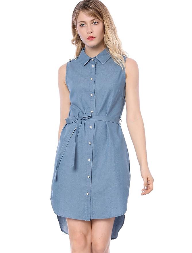 05be1e59ee9 Allegra K Women s Chambray Pearl Button Down Sleeveless Tie Waist Denim  Shirt Dress at Amazon Women s Clothing store