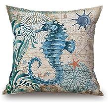 "Happy Cool Cotton Linen Square Mediterranean Sea Decorative Throw Pillow Cushion Cover 18""x 18"" Sea Horse"
