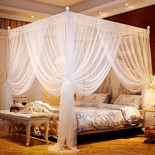DASENLIN Mosquito Net Rectangle Three Open Door Encryption Stainless Steel Floor White Bed Curtain Mosquito Repellent 220Cm* High 200Cm