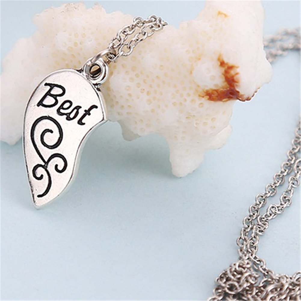 ddds5391 2Pcs Womens Girls Heart Partners Letters Best Friends Sisters Gift Chain Necklace